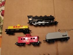 Shell Oil Train, 2 Cars, Caboose, Engine, Fletcher-barnhart And White, Complete