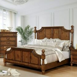 Traditional Beautiful Light Oak Solid Wood Bedframe Panel Hb Queen Size Bed