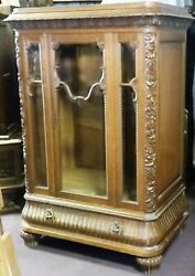 French Oak China Display Cabinet Lingerie Armoire Grape Carving And Unusual Size
