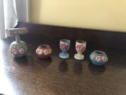 Wooden Folk Art Hand Painted Egg Cups Nutcracker And Small Pots