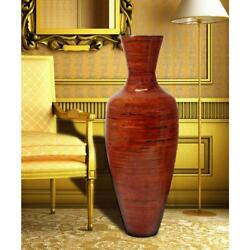 Tall Red Natural Bamboo Floor Vase, Glossy Shiny Finish, Trumpet Shape, 37.5 H