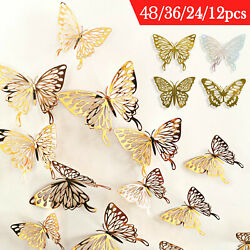 12 72PCS Butterfly 3D DIY Mirror Wall Sticker Decals Removable Modern Home Decor