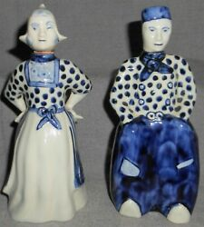 Pair Delft Figural Man And Woman Bottles Or Cruets Made In Holland