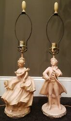 Set Of Two Vintage 50's Faip F.a.i.p. Table Lamps Pink Chalkware Lady And Man