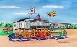 Airport Diner Art Print Ford Woodie Station Wagons Flathead Hot Rod Roadside