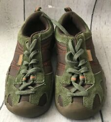 Nwot Keen Kids Unisex Lace Up Shoe Size 1 Brown With Green Trim And Laces