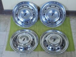 1951 Ford Hub Caps 15 Set 4 Wheel Covers Deluxe Accessory Hubcaps Crestline 51