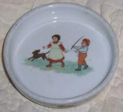 Baby Dish with Boy and Girl Playing with Dog Bunnies and Cat Germany Antique