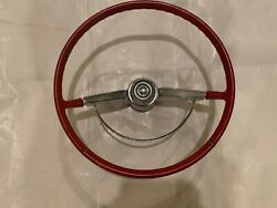 1964-1966 Chevy Impala Ss Steering Wheel Chrome Horn Cap Ring Nicely Restored