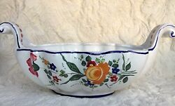 Deruta Italy Lg Curved Handle Bowl 14andrdquo Hand Painted Floral Design Signed