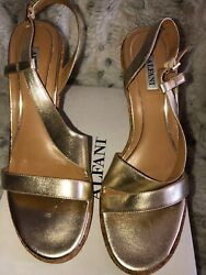 NEW ALFANI Designer Gold Leather Cork Stiletto High Heel Shoes Sz 9.5 M MSRP $79 $33.99