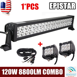22inch 120w Combo Led Work Light Bar Off-road Suv+ 2x 4inch 18w Pods+wiring Kit