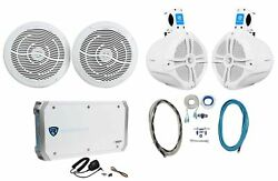 2 Rockville Rmc80w 8 Marine Boat Speakers+2 8 Wakeboards+4-ch Amp+wire Kit