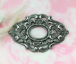 Antique Silver Heart Oval Scroll Filigree Ornate Frame Stamping Finding C-1002