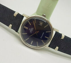 Vintage 1970and039s Omega Seamaster Blue Dial Date Cal1012 Automatic Manand039s Watch