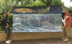 Huge Boston Rock Band Banner, Signed By Delp Scholz Pihl Masdea Sikes Huffman
