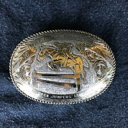 Rare Sterling Silver/22k Gold 1966 Crumrine Lachsea English Jumper Trophy Buckle