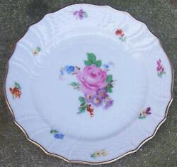 Hutschenreuther Small Plate With Pink Rose And Scattered Flowers And Gold Trim