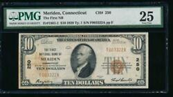 Ac 1929 10 First National Bank Of Meriden Connecticut Pmg 25/c Ch 250