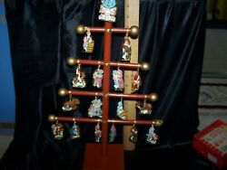 Vintage Wooden Christmas Tree With 17 Hand Painted Detailed Ceramic Ornaments