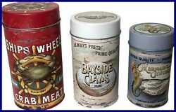 Seafood Advertising Metal Tin Canisters Vintage Beach Home Kitchen Decor Air Tig