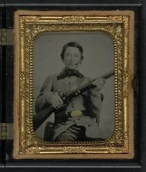 Photo Civil War Confederate In Uniform With Cs Oval Belt Plate And Rifle