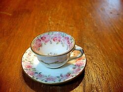 Rare Miniature Hand Painted Eb Foley Tea Cup And Saucer