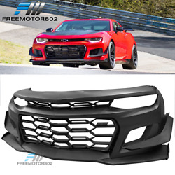 Fits 16-21 Chevy Camaro Coupe 1le Style Front Bumper Cover Unpainted Black - Pp