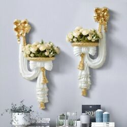 Flower Wall Vase Hanging Home Resin Decoration European Style Artificial Flowers