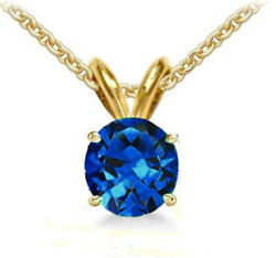 @@ Wholesale Yellow Gold Genuine Sapphire Round Necklace Pendant W/ Certificate