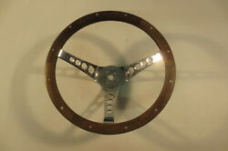 Superior Vintage Real Wood Steering Wheel The 500 13 1/2 Inch Rat Hot Rod