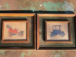 Vintage Framed Antique Classic Cars Wire Home Interior Pictures