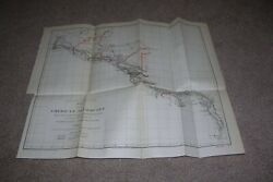 1890 Railroad/railway Map Central South America Isthmuses
