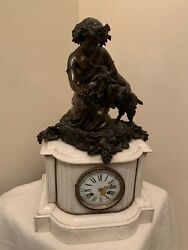 Antique Marble And Bronze Cherub And Goat Mantel Clock