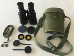 Leica Leitz Elcan 7x50 Military Nato Binoculars Very Clean With All Accessories