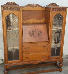 Vtg Oak Side By Side Leaded Glass Bookcase China Cabinet And Desk W/ Leaded Glass