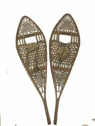 """Vintage Tubbs Wooden Snowshoes Leather Binding 48"""" By 13.5"""""""
