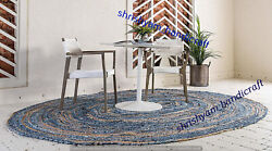 Braided Jute And Cotton Rug Oval Antique Yoga Hand Carpet Fiber Area Dhurrie Mat