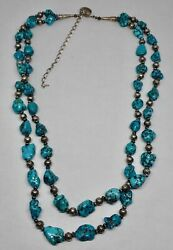 Audie Yazzie Vintage Navajo Turquoise Nugget And Silver Bead Southwest Necklace