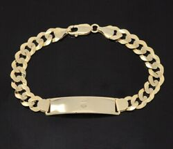 14k Solid Yellow Gold Menand039s Id Curb Link Bracelet With Lobster 25.60 Gram 9 Inch