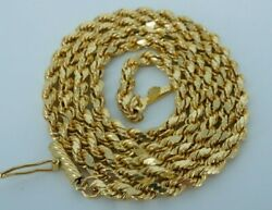 18 Yellow Gold Diamond Cut Rope Necklace