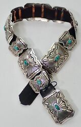 Feather T Hallmark Navajo Vintage Sterling Silver And Turquoise Concho Belt