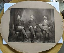 Antique Cabinet Card Photo Legends Of The Fall 3 Men Smoking Cigars
