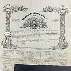 100 Confederate States Coupon Bond Andndash Criswell 30 Ball 57