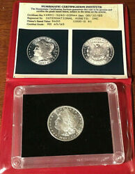 1880-s 1 Morgan Silver Dollar In Old Nci Mount In Protective Case With Photo