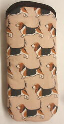 BASSET HOUNDS ALL OVER GLASSES CASE Ideal small gift