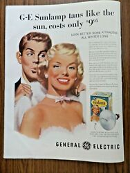 1956 Ge General Electric Ad Sunlamp Tans Like The Sun