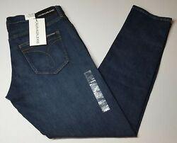 Calvin Klein Women's Mid Rise Slim Fit Jeans Hamptons Dark Blue Size 31x30 NWT  $34.99