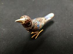 Vantage Chinese Cloisonne Bird Figurine With Red Dot On Head