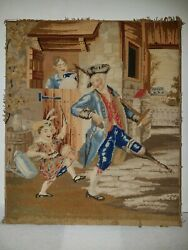 Antique Victorian Needlepoint Embroidery Sampler Panel Drummer Boy And Soldier